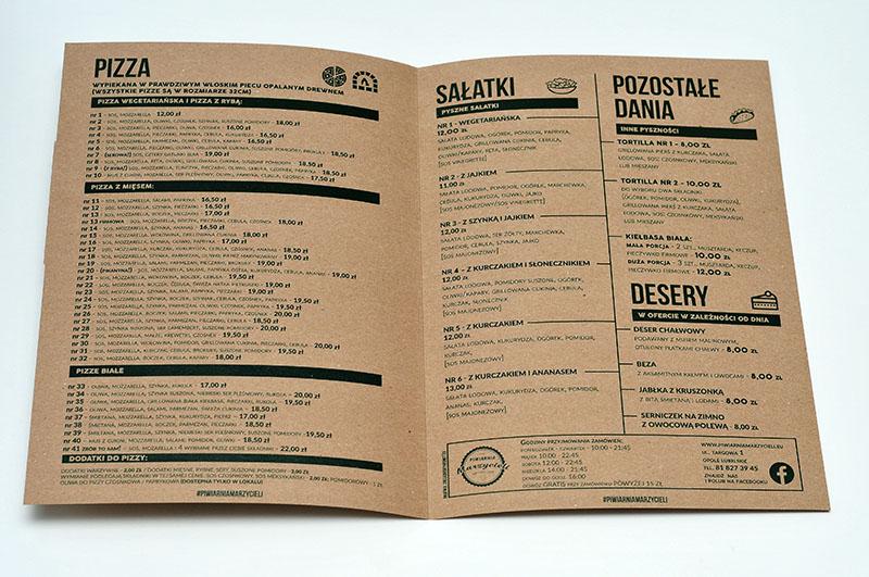 druk kart menu ekologicznych do restauracji