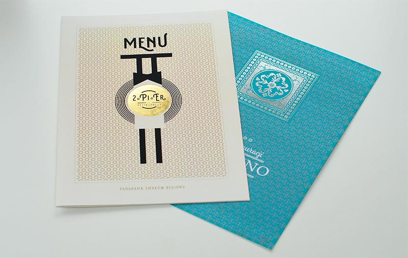 hot stamping karty menu w kolorze srebrnym i złotym