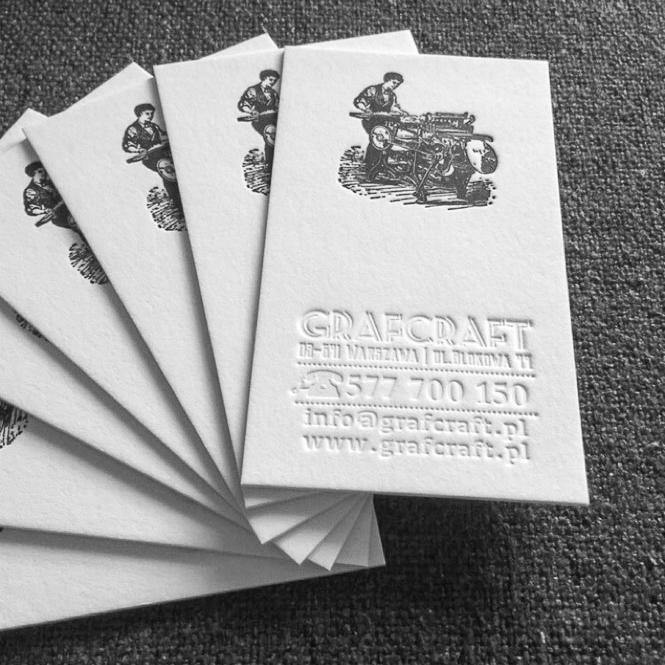 wizytówki tłoczone letterpress warszawa