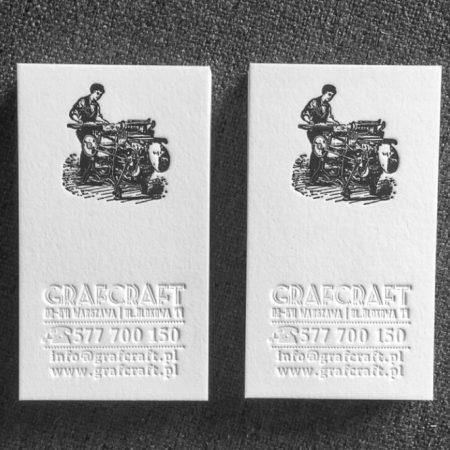 druk wizytówek letterpress z tłoczeniem w papierze